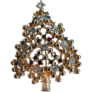 Fabulous Christmas Tree Brooch Pin Rhinestones & Beading
