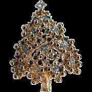 Fabulous Christmas Tree Brooch Pin Rhinestones & Beading
