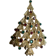Sparkley Rhinestone Vintage Signed Ultra Craft Christmas Tree Pin