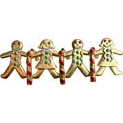 Vintage Signed JJ Gingerbread Man & Candy Cane Christmas Pin