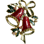 Vintage Enameled Christmas Bells Holiday Pin Brooch