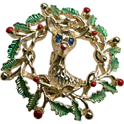 Vintage Gerrys Reindeer in Wreath Enameled & Rhinestone Christmas Pin Brooch