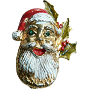 Vintage Santa Claus Head Pin Jolly Ol Saint Nick Brooch Circa 1950's-60's