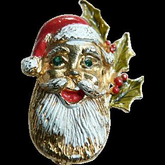 Vintage Santa Claus Head Pin Jolly Ol Saint Nick Brooch Circa 1950's-60's