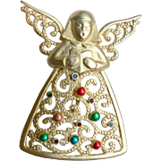 Vintage JJ's signed Christmas Pin Singing Fligree Angel by Jonette Jewels