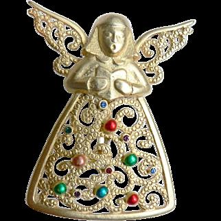 Vintage JJ's signed Christmas Pin Singing Fligree Angel by Jonette Jewels