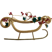 Vintage Spectacular Gold-toned Mesh Sleigh with Beading & Enameling