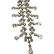 Outstanding Crystal Rhinestone Bridal Prom Necklace Teardrop Droplets & Gold Tone Findings Dazzling!