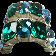 Vintage Signed Lisner Surround Emerald Green Rhinestone & Aurora Borealis Clip Earrings