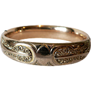 Antique Victorian Gold Filled Hinged Bangle Bracelet by W.J. Braitsch & Co. WJB