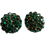 Vintage 1940-50's Sparkling Jewel Toned Emerald Green Screw-Back Rhinestone Earrings