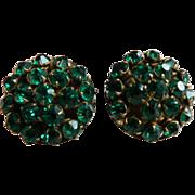 Vintage 1940-50's Sparkling Jewel Toned Emerald Green Screw-Back Rhinestone Earrings
