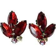 Weiss Ruby Red Vintage Clip Earrings w. Marquise & Chaton Rhinestones