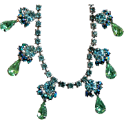 Rhodium Plated Blue & Green Rhinestone Necklace with Aurora Borealis Accented Drops