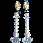 Lewis Segal Vintage Shoulder Sweep Long Clip Earrings Faux Pearl & Pastel Aurora Borealis Rivoli