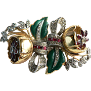 1938 Coro Duette Brooch Fur Clip Quivering Camellia Art Deco Style