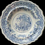 Vintage Staffordshire Transfer Ware Soup / Salad Bowl Lausanne Villa Blue White Pattern