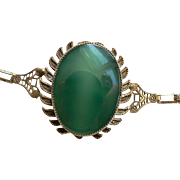 Art Deco Large Chrysoprase Apple Green Cabachon 1920's Bracelet