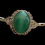 Art Deco Large Chrysoprase Apple Green Cabachon 1920's Bracelet