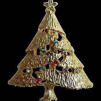 Vintage Christmas Tree Holiday Pin with Rhinestones