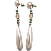 Pink Faux Pearl & Sterling Bead Long Dangle Vintage Pierced Earrings