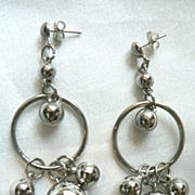 Silverplate Chandelier Large Earrings with Ball Dangles Vintage