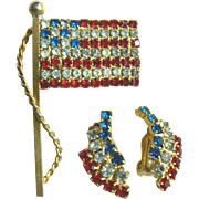 1960-70s Vintage Patriotic American Flag Pin & Earring Set