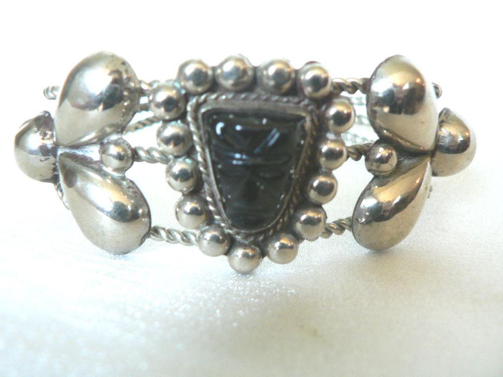 "Vintage Signed ""Mexico Silver"" & Obsidian Carved Mask Cuff Bracelet"