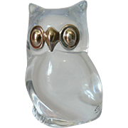 """ Made In France "" French Clear Crystal Owl with Silver Metal Eyes & Beak Paperweight Figurine"