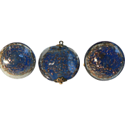 1940's Deep Blue & Gold Stone Flex Poured Glass Pendant & Button Clip-On Earrings Signed Italy  Outstanding!