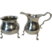 Vintage Williamsberg, Virginia Hand Made Pewter Creamer & Sugar
