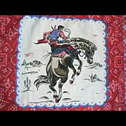 Vintage 1960s Western Cowboy & Bronco Horse Bandanna Scarf Hankie