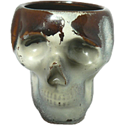 Rare 1940's Red Pottery Skull Skeleton Shot Glass