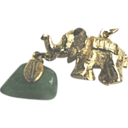 Gold Toned Elephant with Dangling Chunky Jade Stone Charm Pendant