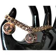"Beautiful Vintage 12K Gold Filled Link Charm Bracelet with Two Celestial Charms signed ""r"""