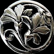 Antique Art Nouveau Large 22.7 Grams Sterling Silver Flower Brooch / Pin