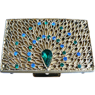 Vintage Pill Box Rhinestone Peacock Tail Raised Relief Design   Divided / Pill Tubes / Tongs
