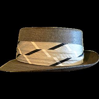 1940s-50s Dobbs Fedora Dress Straw Hat / Silk Wide Cool Headband Sz. 7 1/2