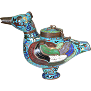 Quing Dynasty Chinese Cloisonne Fowl Censer Incense Burner