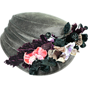 1930's Ladies Cloche Style Hat with Rayon Velvet & Composition Flowers