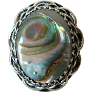 Vintage 1960's Whiting & Davis Firey Abalone & Silver Ring Sz. 8.5""