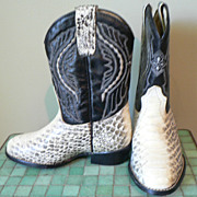 Vintage Snake Skin Western Kid's Cowboy Boots Caballo Dorado Sz. 8