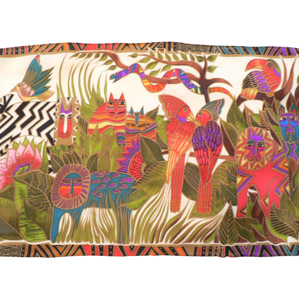Vintage laurel burch silk scarf jungle animals with cats for Classic jungle house for small animals