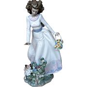 "Retired LLADRO' ""A Sunday Stroll"" Lady with Dog & Flower Basket LARGE"