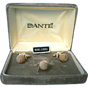 Dante Gold Tone Rope Dome Vintage Cufflinks Tie Tack Set in Original Box MIB