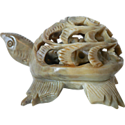 Hand Carved Soapstone Double Turtle Tortoise Sculpture / One Inside The Other