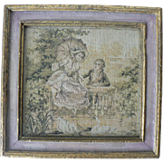 Late 1800's French Tapestry Rococo Style Lovers Genre with Lacygne (Swans) Signed in Gilt Frame