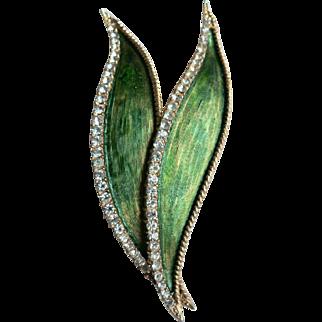 Hattie Carnegie Signed Large Rhinestone & Enamel Leaf Brooch Pin
