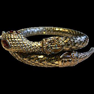 Vintage Egyptian Style Gold Mesh Snake Arm Bracelet