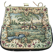 Vintage French Style Petit Point Tapestry Purse Hand Bag Label G.H.L. Princess Style Germany